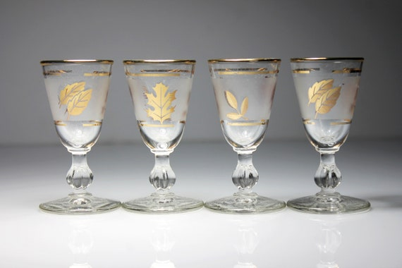 Cordial Glasses, Libbey Glass Company, Golden Foliage Pattern, Set of 4, Frosted Glassware, Barware, Discontinued