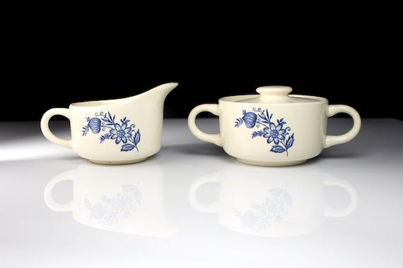 Sugar and Creamer Scio Pottery, Blue Onion, Blue and White, Discontinued