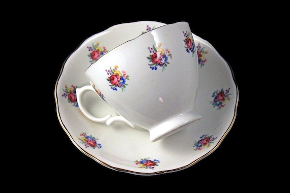 Teacup and Saucer, Crown Essex, Bone China, Rose Pattern, Gold Trimmed, Made in England