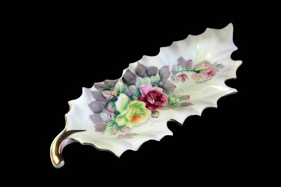 Leaf Shaped Dish, Arnart, Porcelain, Rose Floral, Decorative Dish, Trinket Dish, Candy Dish, Nut Bowl