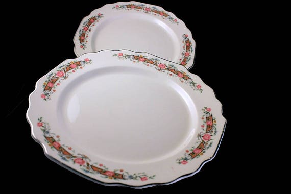 Salad Plates, W S George, Square, Lido Shape, Flower Rim, Pink Rose, Gray Scrolls, Set of 2, Gold Trim