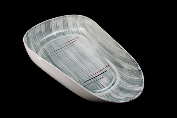 Oval Vegetable Bowl, Prim Rose China, Gray Stripes, Round, Hand-Painted, Large, Avant-Garde, Art Deco