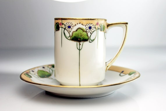 Demitasse Cup and Saucer, Nippon, Gold Encrusted,  White and Tan, Floral Pattern