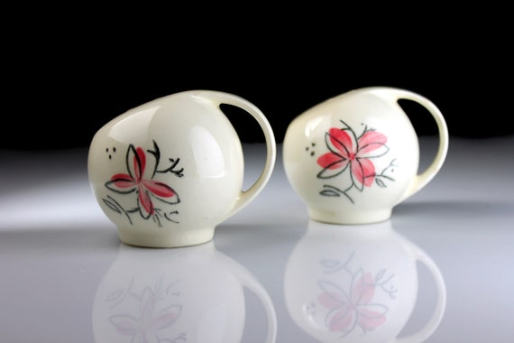 Salt and Pepper Shakers, Mid Century, Pink Floral, Handled