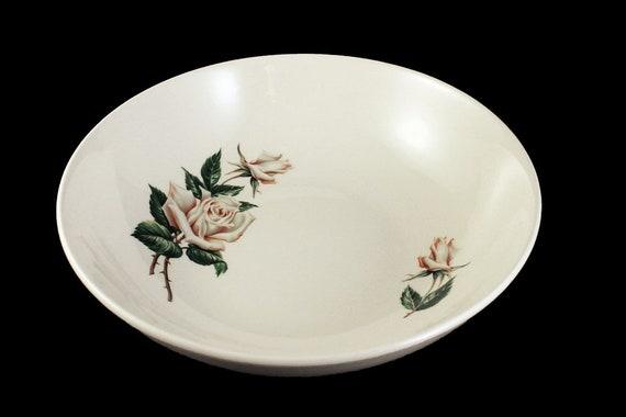 Vegetable Bowls, Universal Pottery, Ballerina, White Rose Pattern, Made in USA, Porcelain, Serving Bowl
