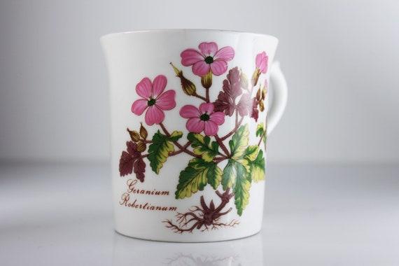 Queen's Rosina Mug, Flora Botanica, Geranium, Fine Bone China, Made in England