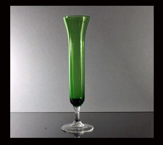 Green Hand Blown Glass Bud Vase With Clear Glass Foot and Stem