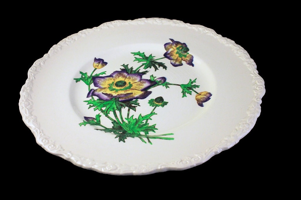 1930s Approximately 11 Diameter Floral Dinner Plates Set of Four: Cauldon England England