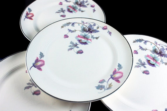 Bread and Butter Plates, Symphony by Salem, Platinum Gold, Floral Pattern, Set of 4, Porcelain