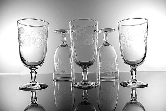 Libbey Etched Ice Tea Glasses, Glenmore, Grey Cut Floral Design, Set of 5, Barware