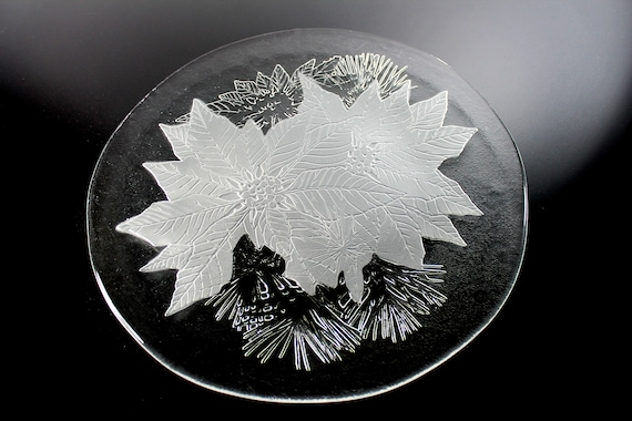 Christmas Platter, Poinsettia, Holiday Platter, Christmas Plate, 13 Inch Serving Plate, Pressed Glass, Clear Glass Platter