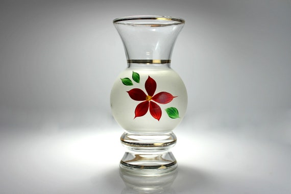 Frosted Bud Vase, Gold Trim, Hand Painted Flower, 6 Inch