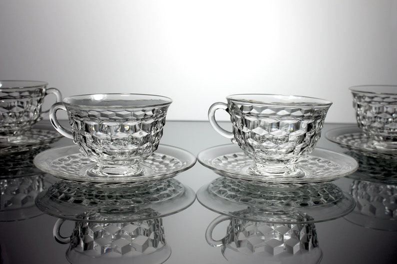 Footed Cups and Saucers, Fostoria, American, Set of 4, Clear Glass, Cube  Design