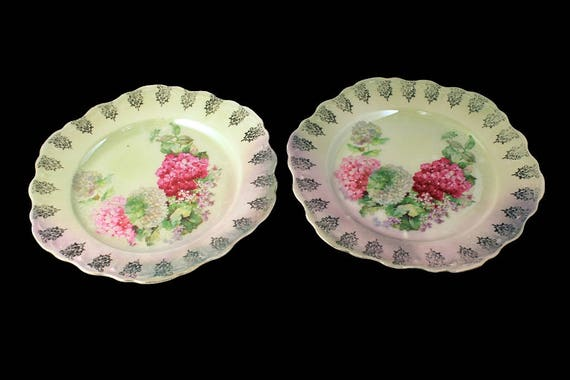 Antique German Salad Plates, Fine Porcelain, Set of 2, Hydrangea Pattern, Hand Painted, Embossed, Gold Filigree Edge