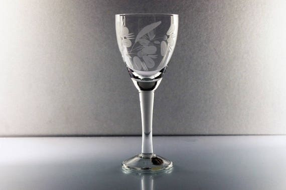 Etched Cordial Glass, Made in Roumania, Floral Pattern, Clear Glass, Barware, Original Sticker Attached