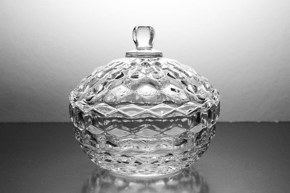 Candy Box, American Whitehall-Clear, Indiana Glass, Cube Pattern, Covered Candy Dish, Original Box