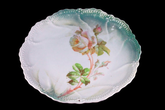 Antique Plate, Leuchtenburg China, White Rose, Circa 1910, Collectible, 8 Inch, Display Plate