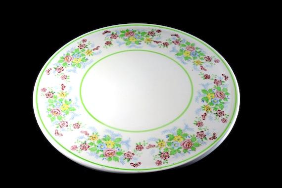 Footed Cake Plate, Tashiro Shoten Ltd, Nagoya Japan, Round Floral, Platter, Porcelain
