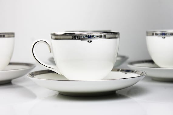 Cups and Saucers, Wedgwood Amherst, Set of 4, Fine China, Platinum Trim, Teacups, Dinnerware