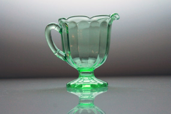 Footed Green Creamer, Vaseline Glass, Uranium Glass, Depression Glass, Scalloped Edge