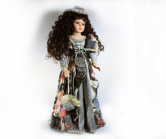 Porcelain Doll, Collectible Victorian Doll, Stand Included, Display Doll, 22 Inches Tall, Floral, Tall