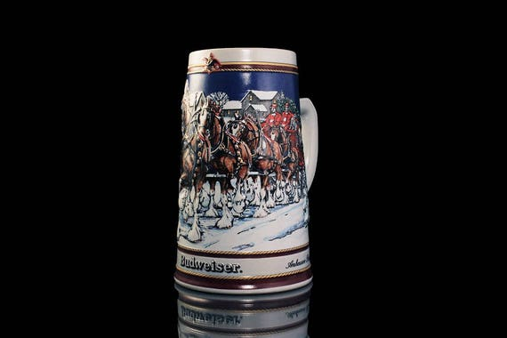 1989 Budweiser Holiday Stein, Collector Series, Beer Stein, Christmas Stein, Collectible, Anheuser-Busch Stein