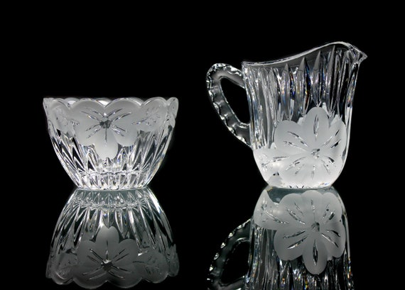 Lausitzer Sugar and Creamer, Crystal Clear Glass, Frosted Floral
