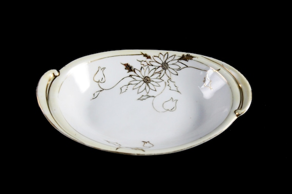 Antique Oval Nippon Bowl, Rising Sun Mark, Hand Painted Porcelain, Floral Pattern, Gold Gilt, Trinket Bowl, Vanity Bowl, Candy Bowl