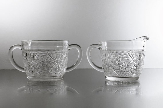 Sugar Bowl and Creamer, Anchor Hocking, Sandwich Glass, Clear, Discontinued