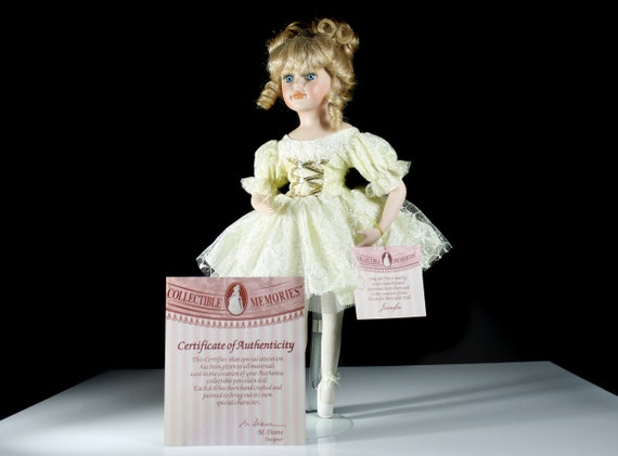Collectible Memories Porcelain Doll, Jennifer Ballet Dancer, 17 Inch Doll, Display Doll, Stand Included
