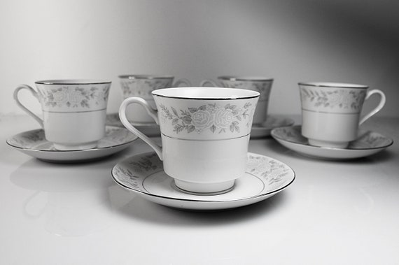 Cups and Saucers, Fine China of Japan, Adele, Floral, Set of 5