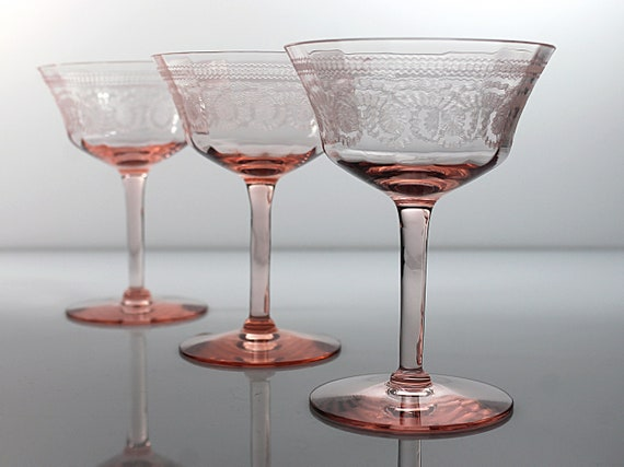Morgantown Etched Champagne Glasses, Pink Glassware, Tall Sherbet Glasses, Needle Etched, Optic, Hand Blown, Barware, Set of 3