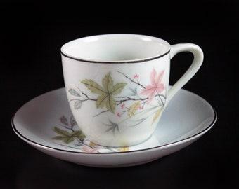 Demitasse Teacup, Economy, Leaf Pattern, Platinum Trim, Fine Bone China, Cup and Saucer, Made in Japan