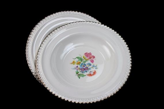 Soup Bowls, Harker Pottery Co, Set of 2, Floral Center, 22K Gold Trim, Fine China