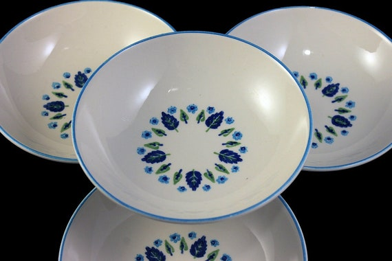 Marcrest, Fruit Bowls, Swiss Alpine, Blue and White, Leaves and Flowers, Made in USA, Porcelain, Set of 4, Dessert Bowls