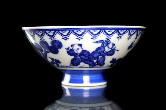 Footed Asian Rice Bowl, Blue and White, Porcelain, Tableware