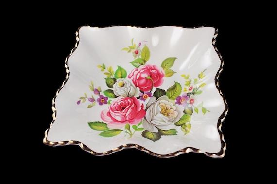 Square BonBon Bowl, Old Foley, James Kent Ltd, Harmony Rose, Square Floral Bowl, Trinket Bowl, Vanity Bowl, Candy Bowl, Nut Bowl
