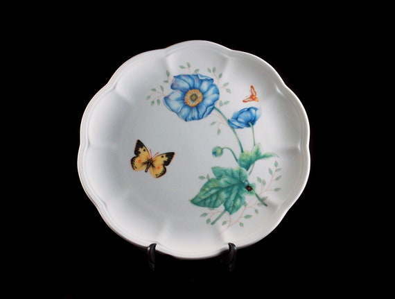 Luncheon Plate, Lenox, Butterfly Meadow, Monarch, Blue Floral, Butterfly, Ladybug and Bee