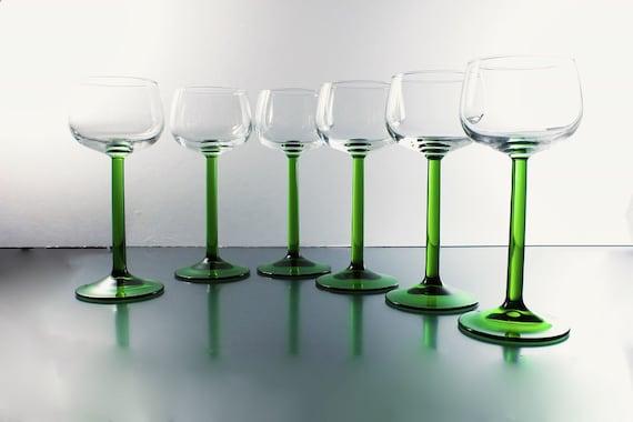 Rhine Wine Glasses, Luminarc, J. G. Durand, Emerald, Set of 6, New In Box, Discontinued, Barware