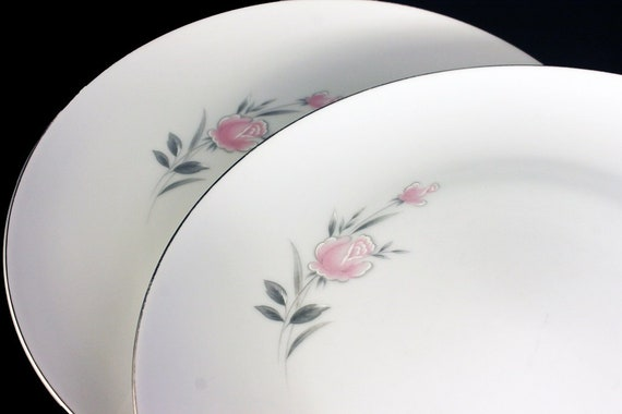 Dinner Plates, Royal Court, Belle Rose, Pink Rose and Bud, Set of 2, Fine China