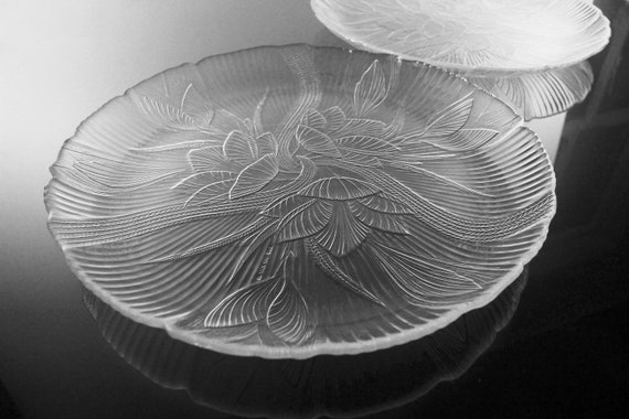 Arcoroc Dinner Plates, Canterbury, Floral Pattern, Pressed Glass, Clear Glass, Set of 2, Platters, Trays