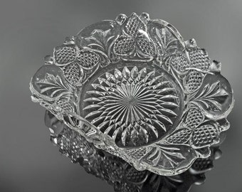 Pressed Glass Bon Bon Bowl, Curved Sides, Strawberry Pattern, Clear Pressed Glass, Candy Dish