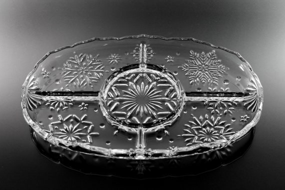 Mikasa Crystal Divided Platter, Snowflake Pattern, Holiday, Christmas Platter, Pressed Glass, Clear