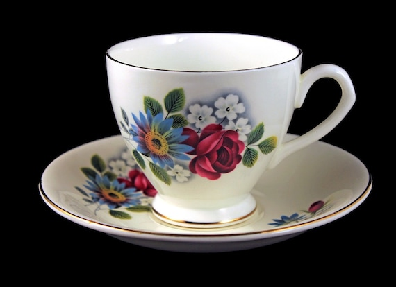 Footed Teacup and Saucer, Taylor & Kent, Elizabethan, Fine Bone China, Red and Blue Floral, Made in England, Gold Trimmed
