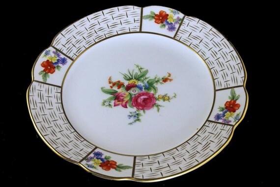 Noritake Salad Plate, Floral, Roses, Basket Weave Design, Gold Trim