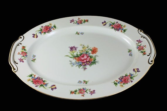 Oval Platter, Sango China, Occupied Japan, Floradel, Large Platter, Floral Pattern, 16 Inch, Multi-floral, Gold Trim