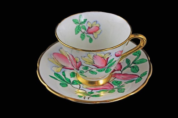Teacup and Saucer, Tuscan Fine English Bone China, Hand Painted Floral Pattern, Pink and Yellow Flowers,