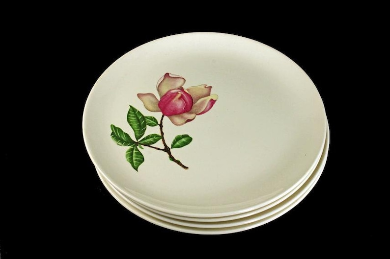 Pink Floral Plates Crooksville China Plates Bread and Butter Southern Belle Pattern Set of 4