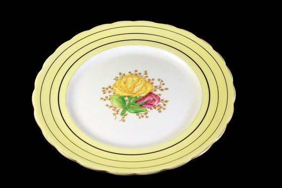 Salad Plate, Victoria, C & E, Cartwright and Edwards, Fine Bone China, Yellow Rose Floral, Made in England, Gold Trimmed