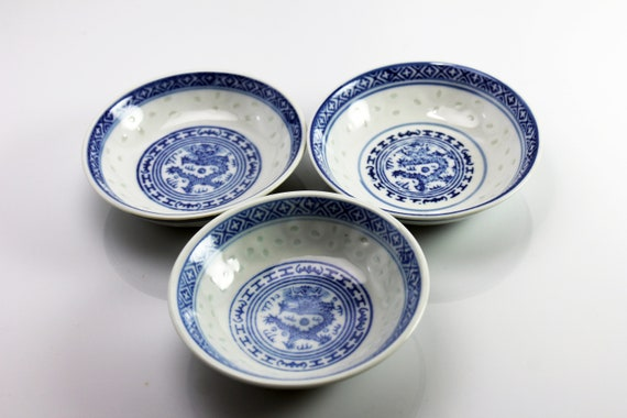 Dipping Bowls, Zhongguo Jingdezhen, Dragon and Diamond Band, Blue and White, Set of Three, Porcelain